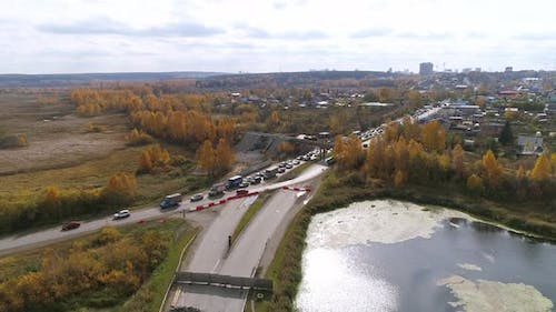 Aerial view Blocked road and traffic jam. 25