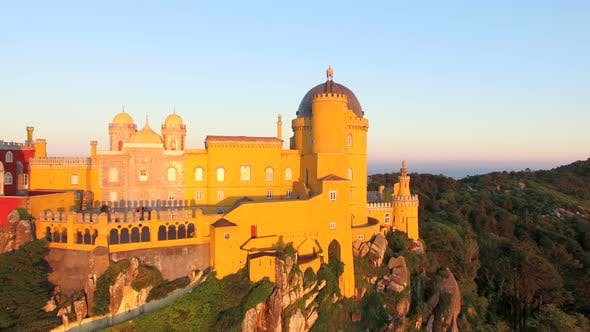 Thumbnail for Aerial view of park and National palace of Pena, Portugal.