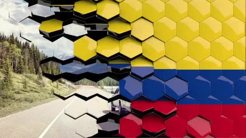 Colombia Flag Hexagon Transition - 4K Resolution