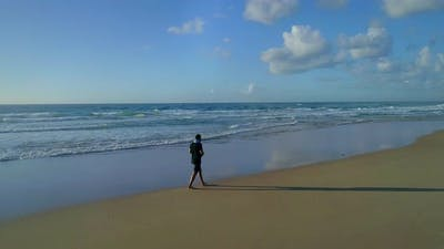 Aerial of Person Walking on Beach