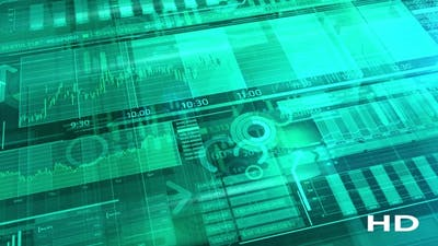 Cyan Background With Stock Trading Data HD