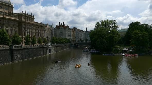 Thumbnail for Prague City - Embankment, Traffic, Theatre, Bridge, Island