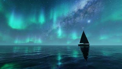 Aurora Sea Landscape Night Light and Boat
