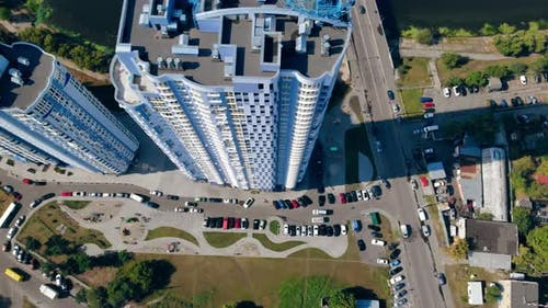 Aerial Drone Shot Over the Building