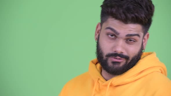 Thumbnail for Face of Funny Young Overweight Bearded Indian Man Acting Childish