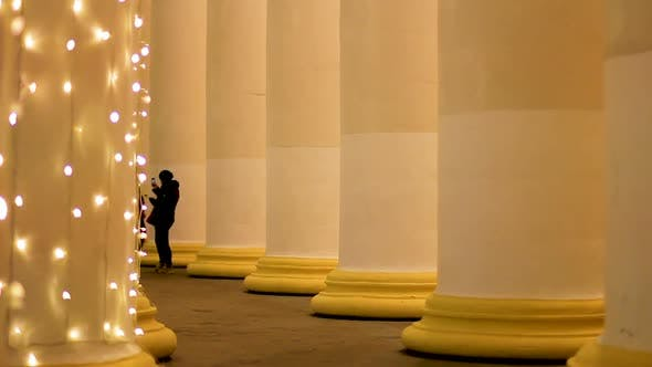 Cover Image for Tourists Making Photographs Between Tall Overflowing Columns, Christmas Spirit
