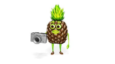 Pineapple Shows Photo Camera  Loop On White Background