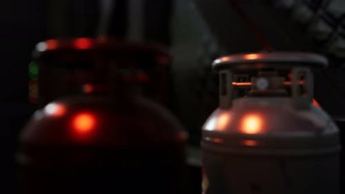 Welding Equipment Acetylene Gas Cylinder with Pressure Gauges on the Oxygen Tank