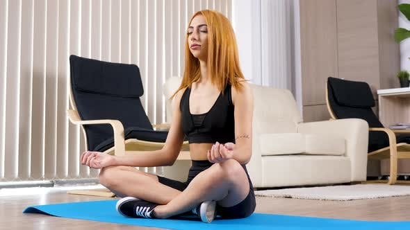 Thumbnail for Beautiful Blonde Arabian Mixed Race Ethnicity Woman Practicing Yoga