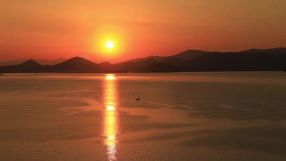 Thumbnail for Lonely Yacht Sailing on Silent Sea. Aegina Island, Greece