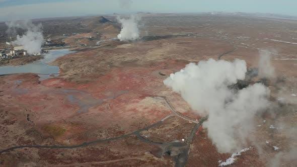 Aerial View of Geothermal Springs in Iceland in Early Spring