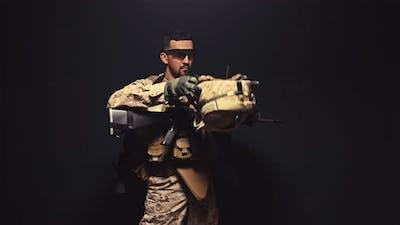 Soldier Puts on His Helmet in the Dark