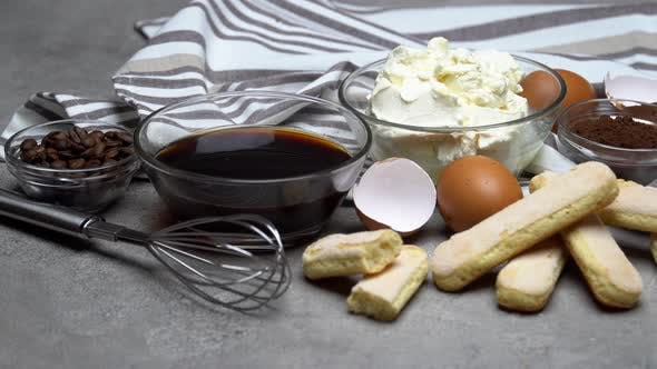 Thumbnail for Frame Made of Ingredients for Making Traditional Italian Dessert Tiramisu