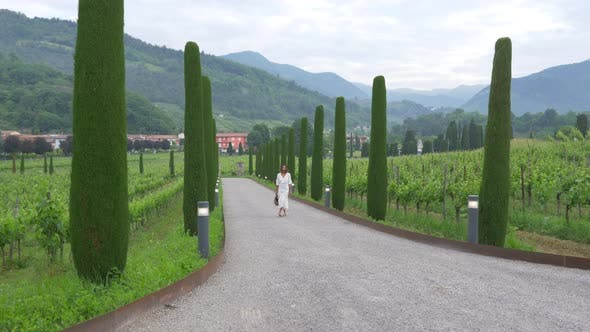 A woman walking on a path with cypress trees while traveling at a luxury resort in Italy, Europe.