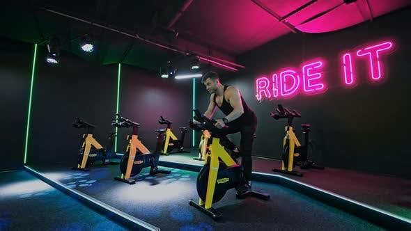 Athletic Shirtless Man Training Doing Power