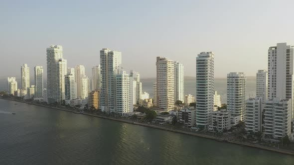 Thumbnail for Sunset in Cartagena Colombia near Modern Skyscrapers Business Apartments Hotels