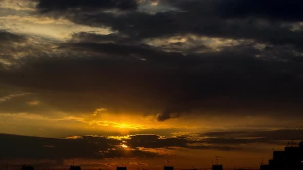 Thumbnail for Sunrise Over City, Closeup on Modern Downtown Skyline Buildings Silhouettes.  FHD Timelapse