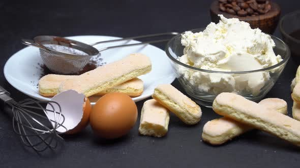 Thumbnail for Ingredients for Making Traditional Italian Dessert Tiramisu