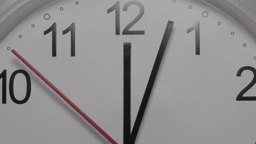 Closeup of a White Clock Face Suggesting the Passing of Time