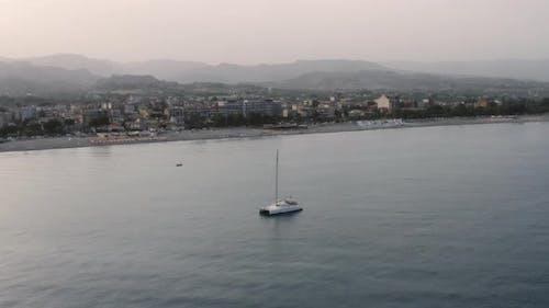 Anchored catamaran boat