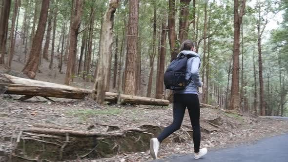 Thumbnail for Woman Tourist Jogs Trail Pine Forest During Travel