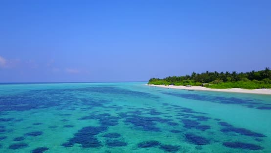 Thumbnail for Tropical overhead island view of a white sandy paradise beach and blue ocean background