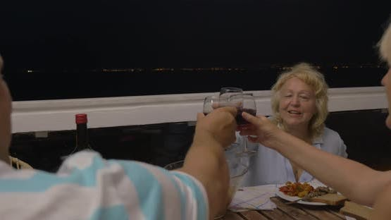 Mature Woman Proposing a Toast