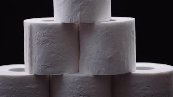 Thumbnail for Toilet Paper Isolated on Black Background Rotating