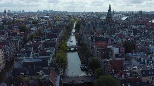 Thumbnail for Aerial Wide View of Amsterdam, Netherlands on Cloudy Day