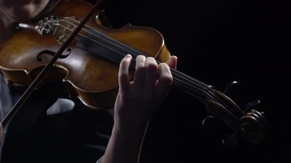 Thumbnail for Violinist Holds a Bow and Plays