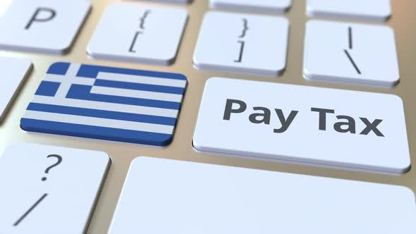 PAY TAX Text and Flag of Greece on the Buttons