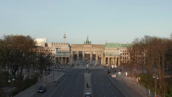 Thumbnail for AERIAL: Flight Towards Empty Brandenburger Tor in Berlin, Germany Due To Coronavirus COVID 19