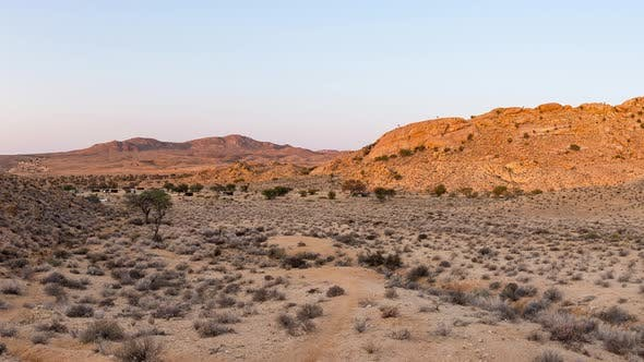 Panorama on colorful sand dunes and scenic landscape in the Namib desert, Namibia, Africa