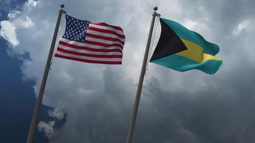 Waving Flags Of The United States And The Bahamas 4K