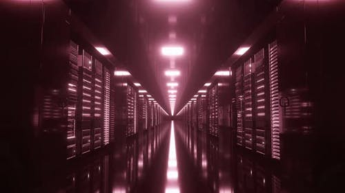 Camera Moves Along the Data Center with the Server Equipment Red Light Turns on