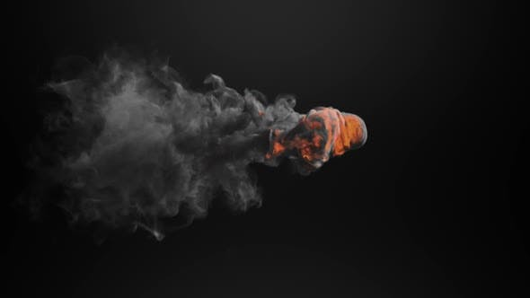 Animation of cloud of orange and grey smoke appearing and disappearing on black background