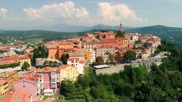 Thumbnail for Aerial view of the mountain city of Labin surrounded by nature, Istria, Croatia.