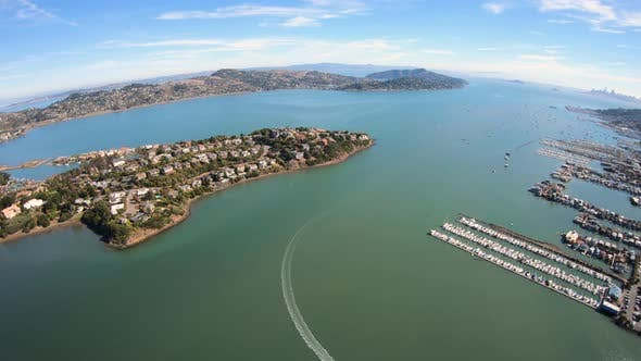 Cover Image for Harbor Point Richardson Bay Aerial Fly Over Amazing Shot Above Boat
