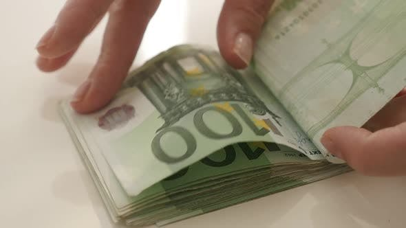 Thumbnail for Euros counting in  slow motion  1080p FullHD footage - Female hand  counts  European Union currency