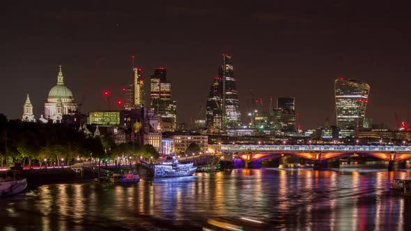 Thumbnail for Timelapse London City Skyline Thames Night England Urban