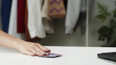 Payment By Cash Money Shopping with Euro Banknotes at Shop Buyer or Client Paying in Paper Currency