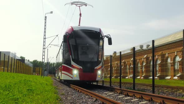 Thumbnail for A Modern Electric Tram in Standing on the Rails