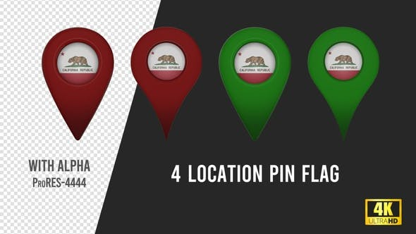 Thumbnail for California State Flag Location Pins Red And Green
