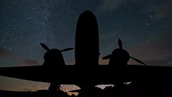 Thumbnail for Stars Milky Way over Plane Silhouette of Military Aircraft in Starry Night Sky Astronomy