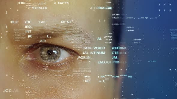 Close-up of Human Eye with Futuristic HUD Technology and Key for Security Concepts