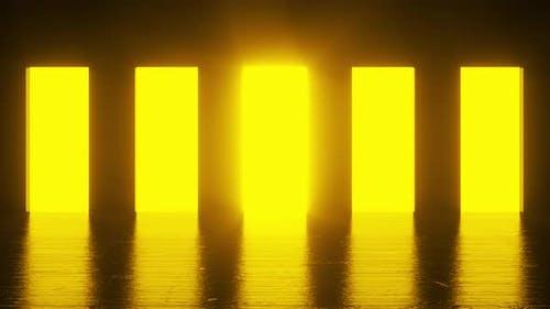 Orange light shines from five doorways in a dark room