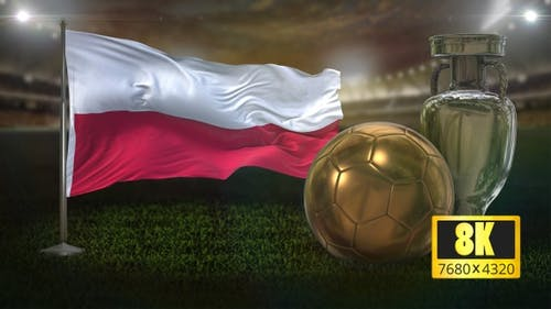 8K Poland Flag with Football And Cup Background Loop