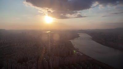Seoul Cityscape in Early Korea Morning Timelapse