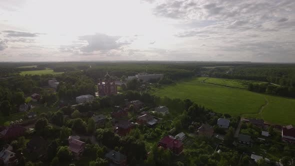 Thumbnail for Aerial Scene of Village with Ascension Cathedral in Lukino, Russia