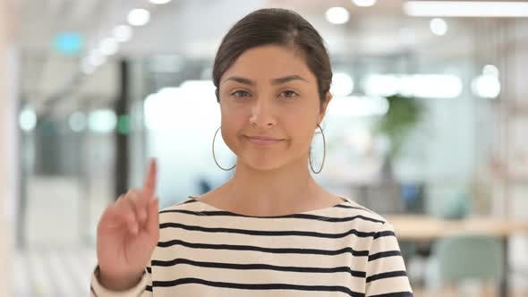 Thumbnail for Portrait of Young Indian Woman Saying No By Finger Sign